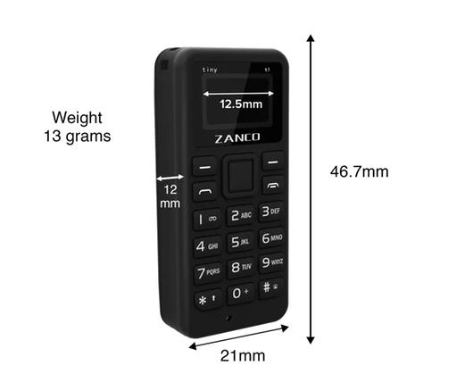 Abmessungen des Zanco Tiny T1 (Quelle Zanco)